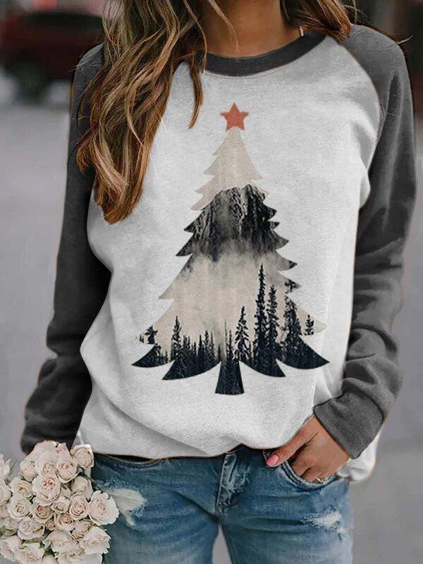 Christmas Tree Misty Treetop Silhouette Print Casual Sweatshirt
