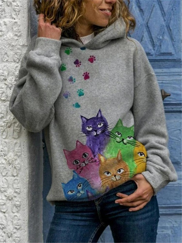 Multicolor Cat Print Long Sleeve Casual Hoodie For Women