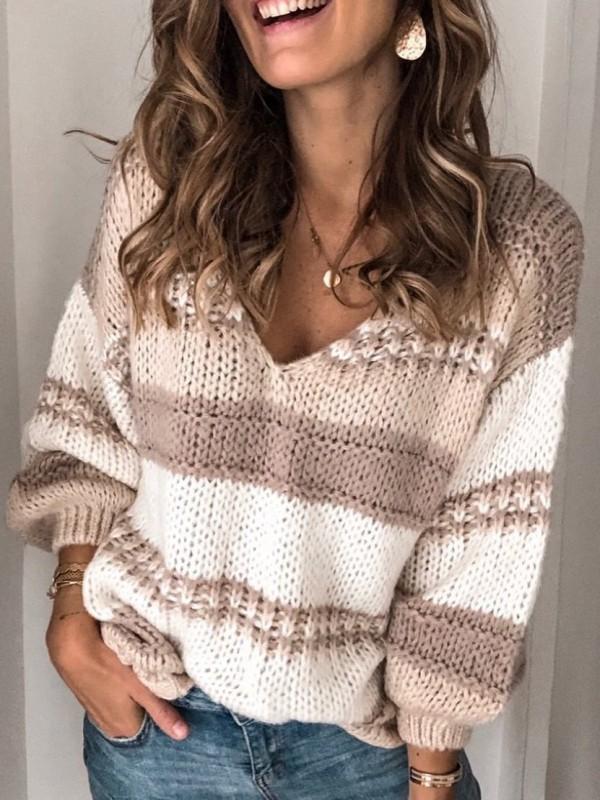 Long Sleeve V Neck Striped Sweater