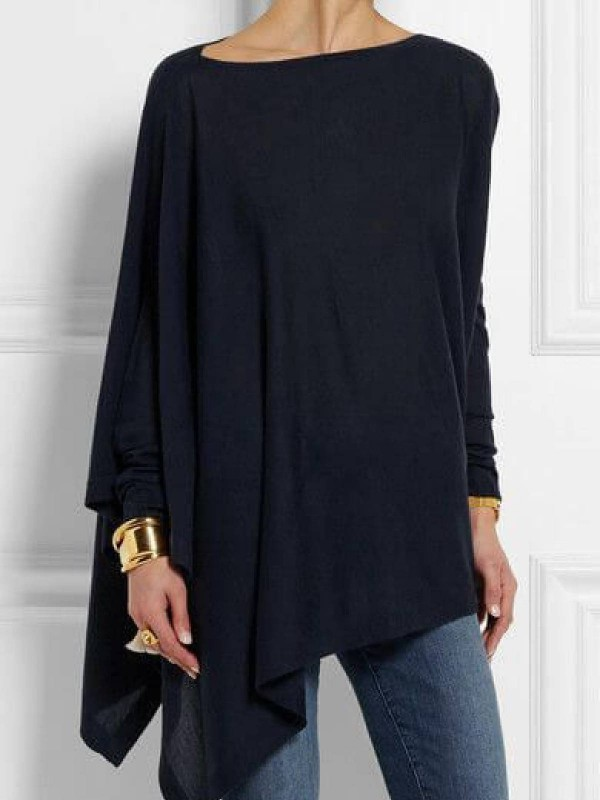 Navy Blue Round Neck Long Sleeve CottonBlend Shirts & Tops