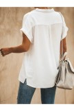 Relaxed Fit Collared Short Sleeve BUTTON DOWN Blouse