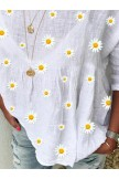 White Crew Neck Floral Shift Casual Shirts & Tops