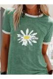 Green Short Sleeve Crew Neck Shirts & Tops