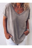 Casual Short Sleeve Gray TShirt