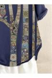 Deep Blue Short Sleeve Vintage Shirts