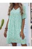 Lightgreen FloralPrint Half Sleeve Dresses