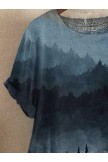 Short Sleeve Casual Printed Ombre/tieDye Shirts & Tops