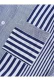 Patchwork Stripe Print Stand Collar Irregular Casual Long Sleeve Shirt