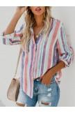 Multicolor Stripe Long Sleeve Blouse